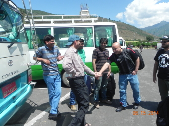 Delegates arriving at the SANDEE's R&T Workshop at the Paro International Airport, Paro, Bhutan